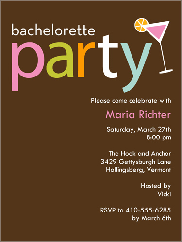 Party Time Toddy Bachelorette Party Invitation