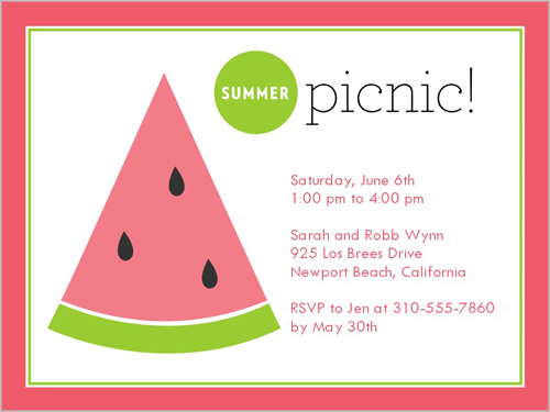 Summer Picnic 4x5 Invitation Card Party Invitations