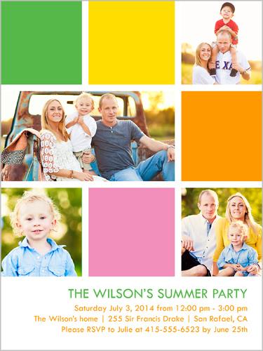 Modern Bright Blocks Summer Invitation, Square