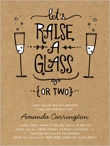 raise your glass surprise party invitations