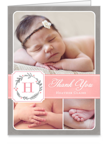 Wreath Monogram Girl Thank You Card
