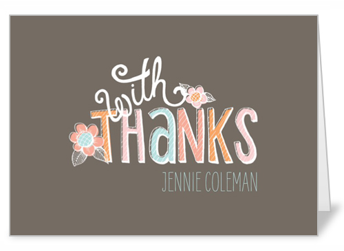 Chalk Pastels Girl Thank You Card