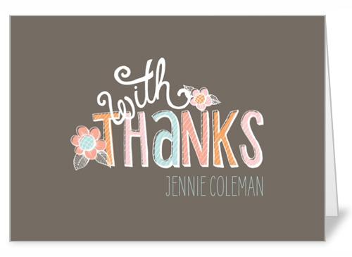 Chalk Pastels Girl Thank You Card