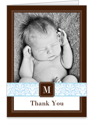Damask Monogram Boy Thank You Card