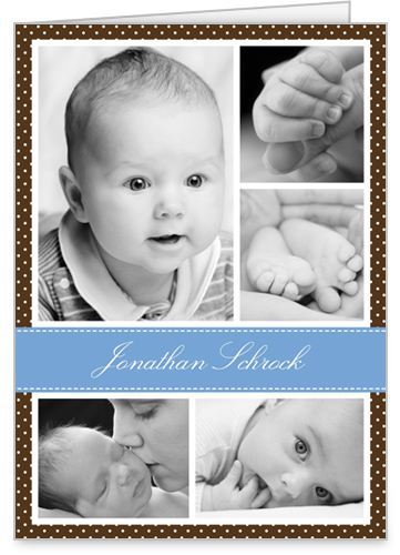 Chic Screen Blue Birth Announcement