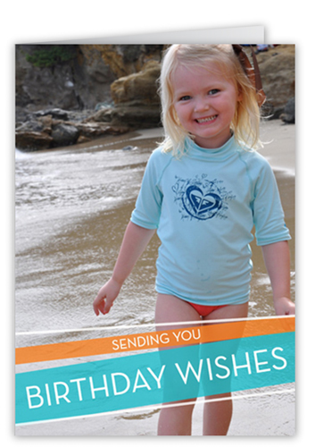 Wrapped Wishes Turquoise Birthday Card
