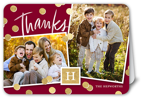 Shining Confetti Thank You Card, Rounded Corners