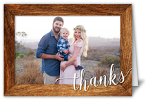 wooden frame thanks thank you card