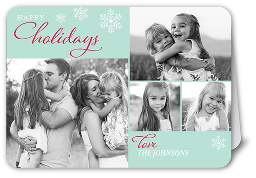 Serene Snowflakes Holiday Card, Rounded Corners