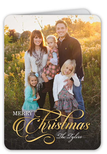 Elegant Merry Wishes Christmas Card, Rounded Corners