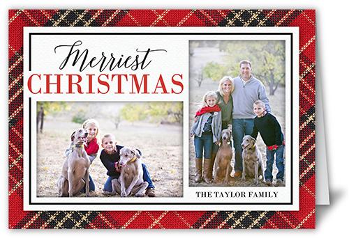 Seasonal Plaid Christmas Card, Square Corners