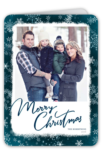 Watercolor Flurry Border Christmas Card