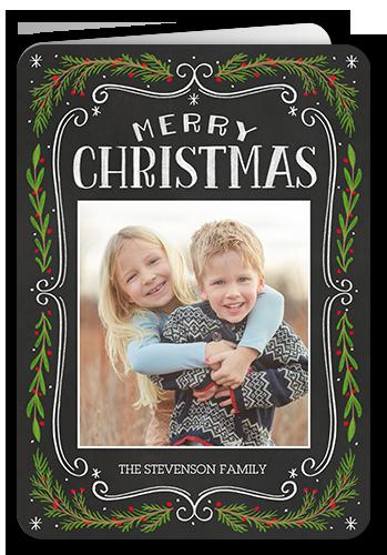 Chalkboard Swirled Frame Christmas Card