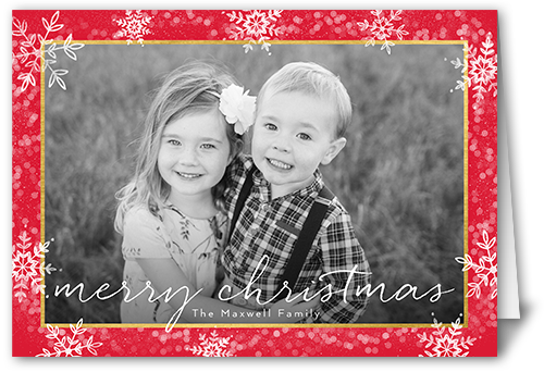 Thin Script Flurries Christmas Card, Square Corners