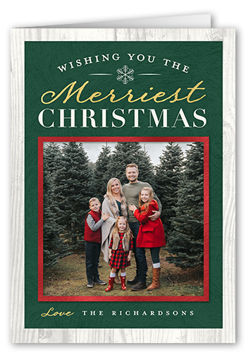 Rustic Classic Wishes Christmas Card, Square Corners