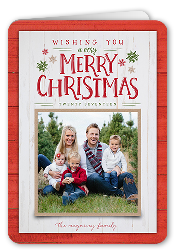 Wooden Seasonal Wishes Christmas Card