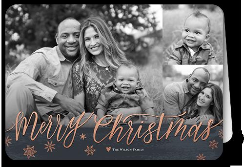 Brushed Seasonal Greeting Christmas Card, Rounded Corners