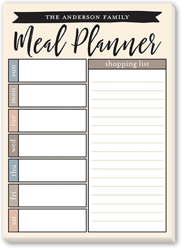 Meal Planner 5x7 Notepad