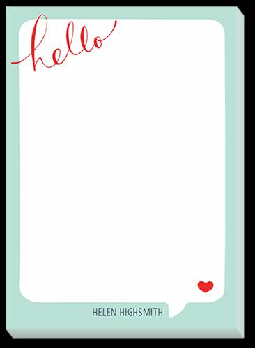 Hello Heart 5x7 Notepad