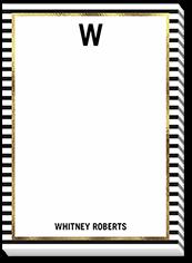 striped monogram 5x7 notepad