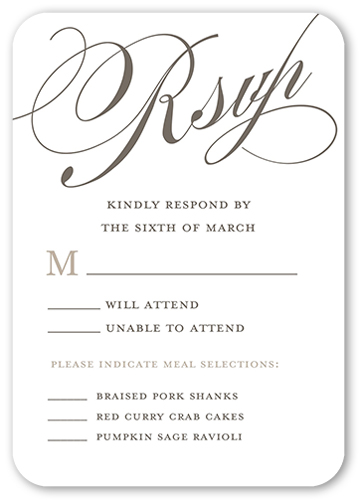 Eternal Vows Wedding Response Card