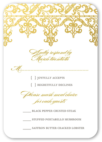 Elegantly Laced Wedding Response Card