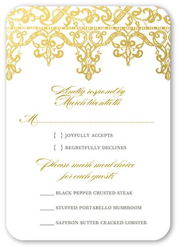 Elegantly Laced Wedding Response Card, Rounded Corners