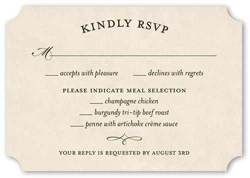 Vintage Skyline Wedding Response Card, Ticket Corners
