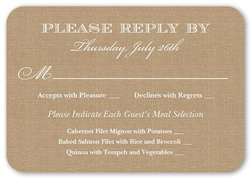 Burlap And Lace Wedding Response Card