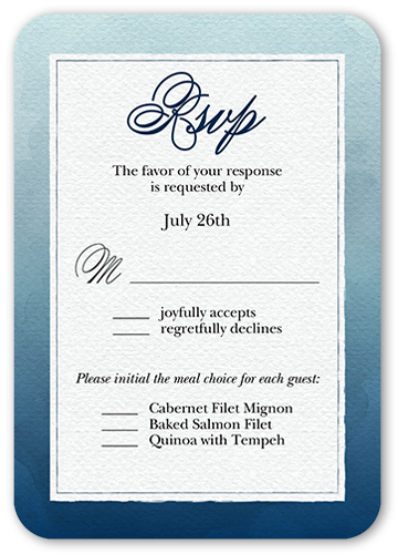 Watercolor Wedding Wedding Response Card, Rounded Corners