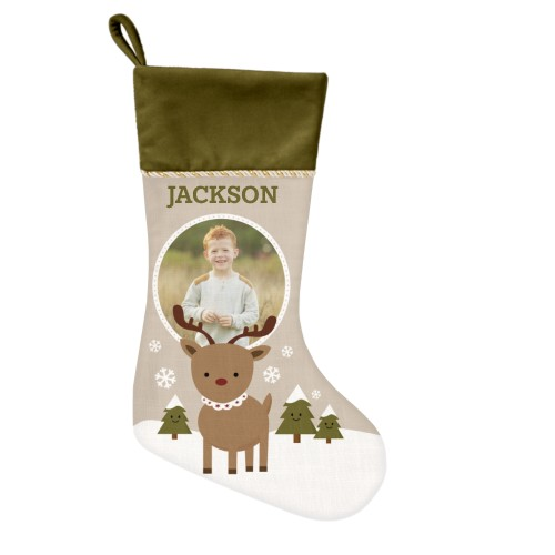 My Reindeer Christmas Stocking, Moss Green, Beige
