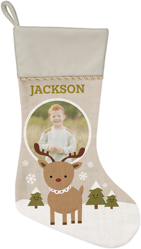My Reindeer Christmas Stocking, Natural, Beige