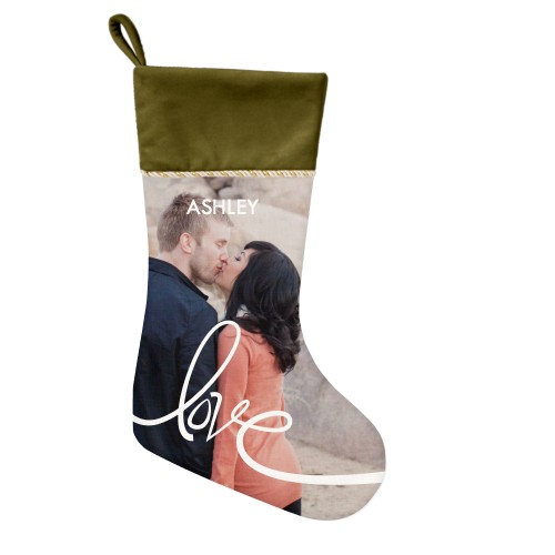 Spreading Love Christmas Stocking, Moss Green, White
