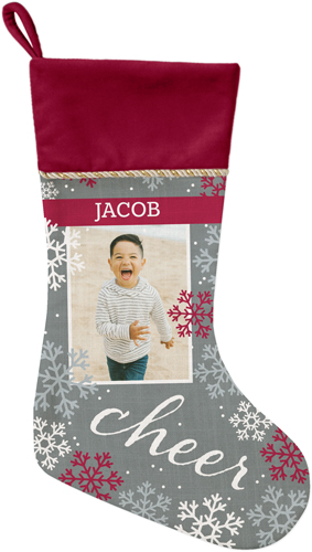 Snowflake Cheer Christmas Stocking, Cranberry, Gray