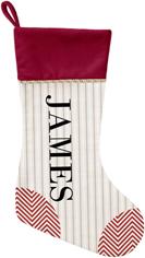 stripes and chevrons christmas stocking
