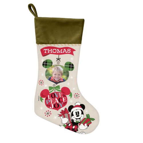 Disney Mickey Mouse Christmas Stocking, Moss Green, Beige