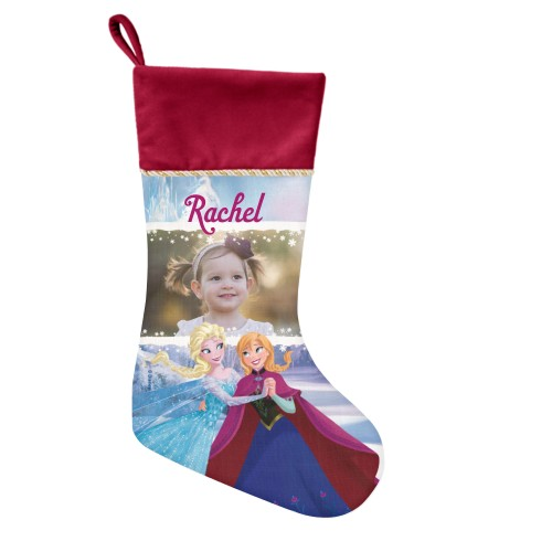 Disney Frozen Anna And Elsa Christmas Stocking, Cranberry, Blue