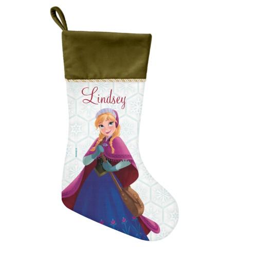 Disney Frozen Anna Snowflake Christmas Stocking, Moss Green, Blue