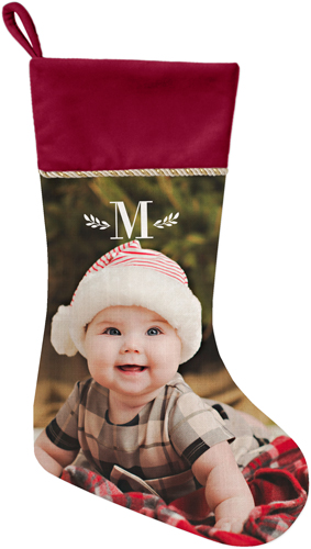 Keyline Monogram Christmas Stocking, Cranberry, White