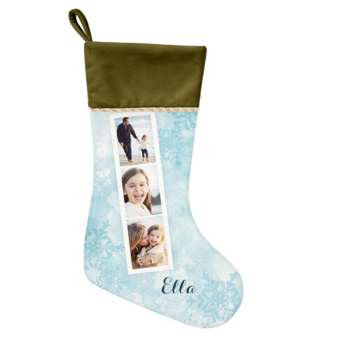 Snowflake Filmstrip Christmas Stocking, Moss Green, Blue