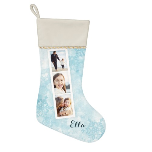 Snowflake Filmstrip Christmas Stocking, Natural, Blue