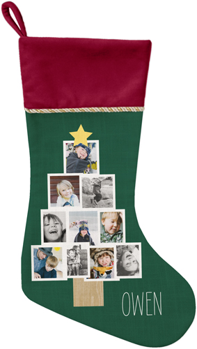 Christmas Tree Christmas Stocking, Cranberry, DynamicColor