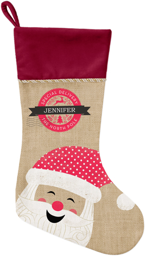 Merry Santa Christmas Stocking, Cranberry, Brown