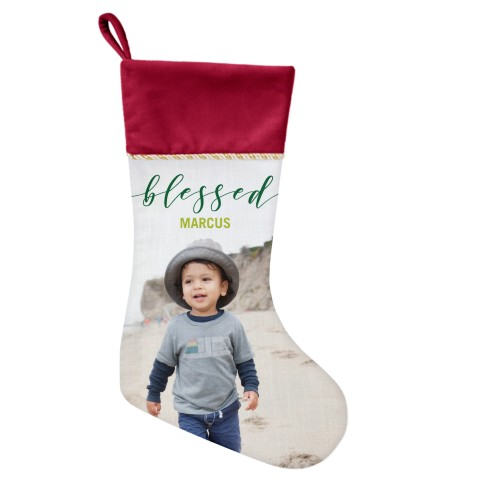 Blessed Script Christmas Stocking, Cranberry, Green