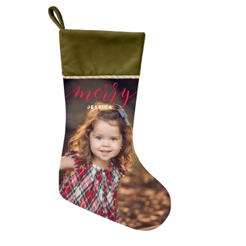 Merry Script Christmas Stocking, Moss Green, Red