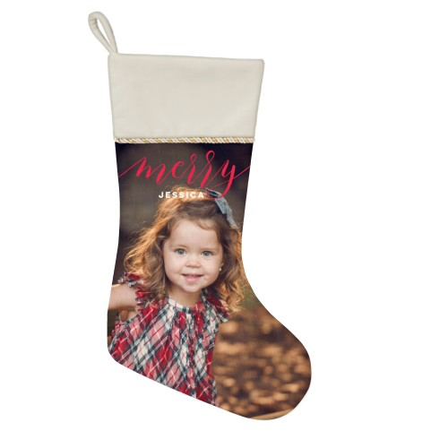 Merry Script Christmas Stocking, Natural, Red