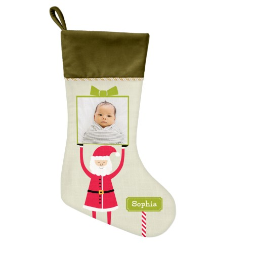 Santa Gift Christmas Stocking, Moss Green, Green