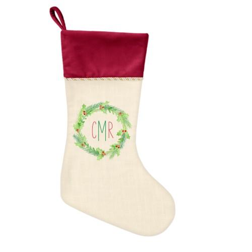 Monogram Foliage Christmas Stocking, Cranberry, Beige