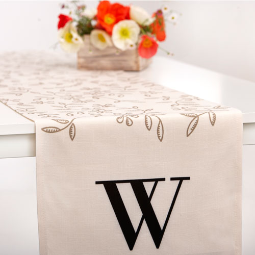 Floral Leaves Monogram Table Runner, 90 x 14, Beige