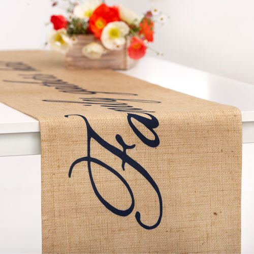 Simple Script Table Runner, 90 x 14, Beige
